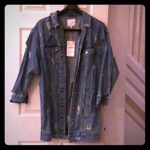 Zara Extra Long Distressed Jean Jacket | Sz M